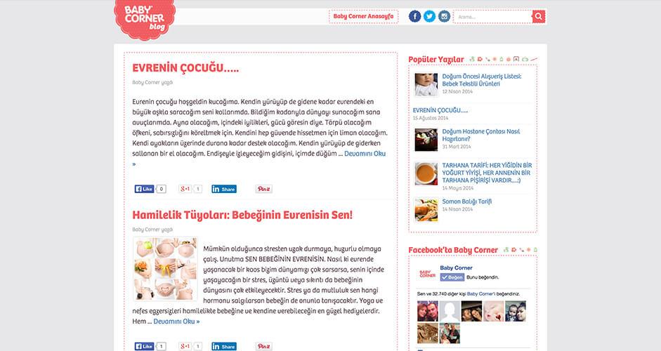 Baby Corner Blog web tasarım ve Wordpress özel tema geliştirme