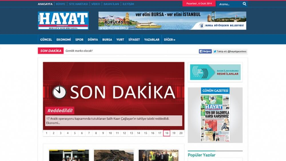 Bursa Hayat Gazetesi web tasarım ve Wordpress özel tema geliştirme