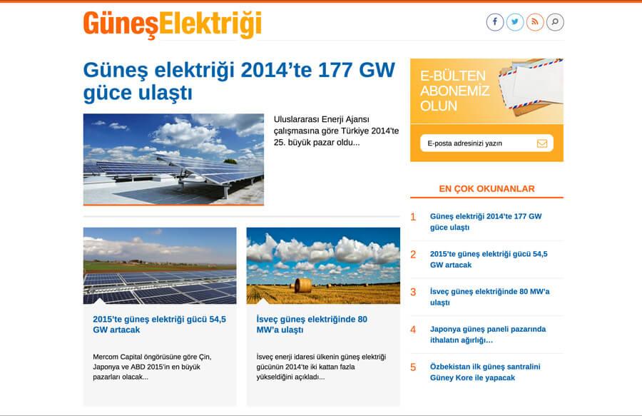 Güneş Elektriği web tasarım ve Wordpress özel haber teması geliştirme